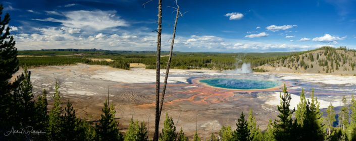 Panoramic landscape photograph of Grand Prismatic Spring, Midway Geyser Basin, Yellowstone National Park, © Adele M. Buttolph, © Adele Buttolph. adelembuttolphgallery, adelembuttolphphotography