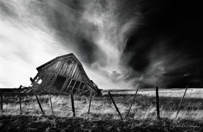 Black and white image of the partially-collapsed historic Midway Barn, located on the Zumwalt Prairie, Wallowa County, Oregon. Photo was taken in February 2016 and barn was removed later that year.