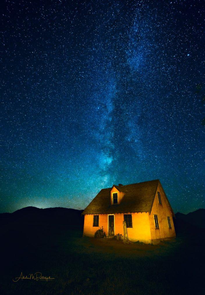 Milky Way rising above an historic farmhouse on Mormon Row, Grand Teton National Park. © Adele M. Buttolph, © Adele Buttolph. adelembuttolphgallery, adelembuttolphphotography