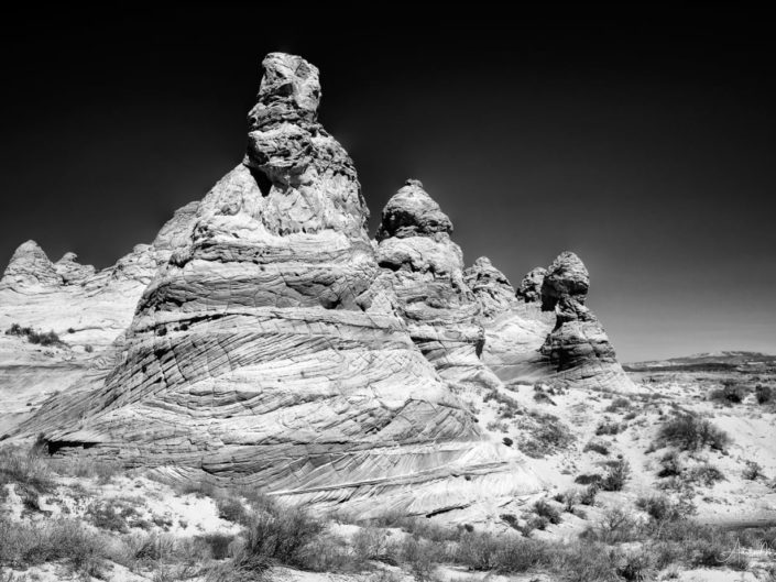 Black and white photograph of the Teepees located in South Coyote Buttes, Vermillion Cliffs National Monument, Arizona
