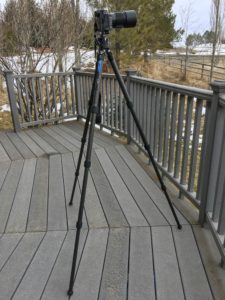 Leofoto LS-284C tripod shown with camera mounted