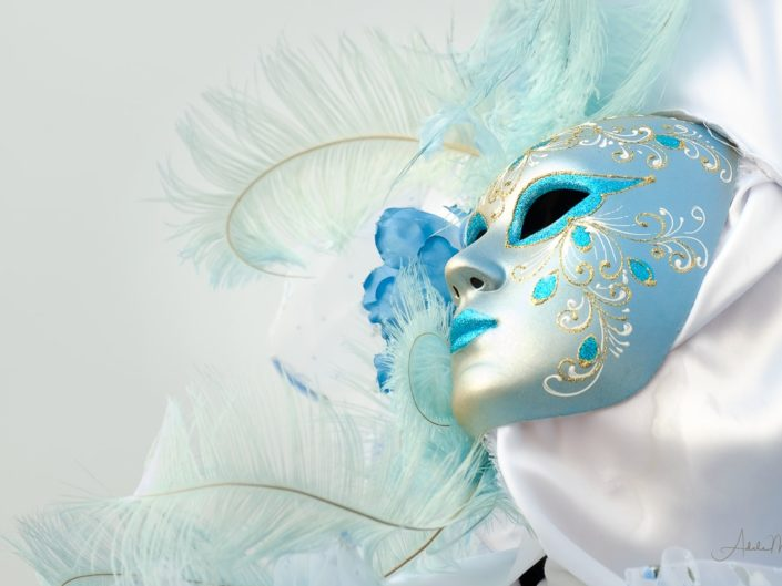 An ethereal feathery blue and white mask and headdress of a costumers. Photographed in early morning light during Venice Carnival.