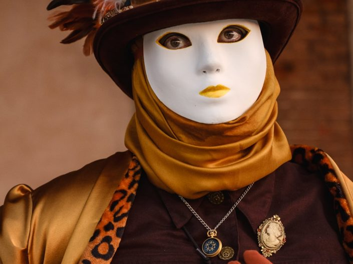 Steampunk costume portrait photographed at Venice Carnival, Italy