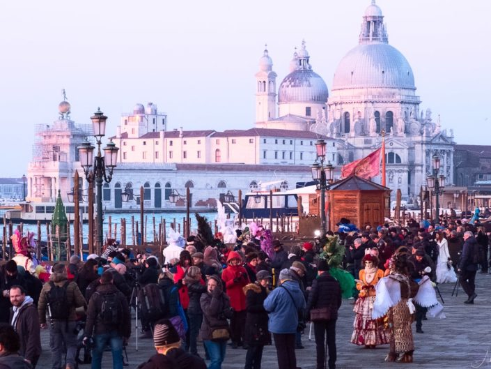 Morning crowd at St Mark's Square during Venice Carnival 2018.