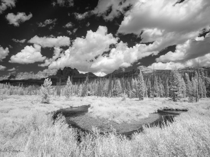A bend in a small stream provides a foreground to the Pinnacles, near Brooks Lake, Wyoming