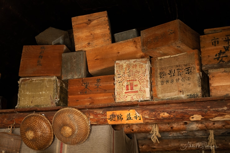 Chinese goods stacked in a mercantile in Barkerville