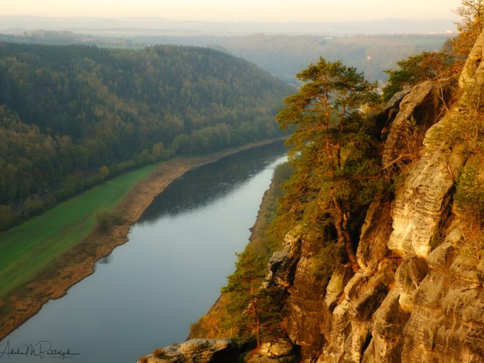 A sunlit rock formation and tree glow in the mronign light abouve a river in Bohemian and Saxon Switzerland, Czech Republic and Germany