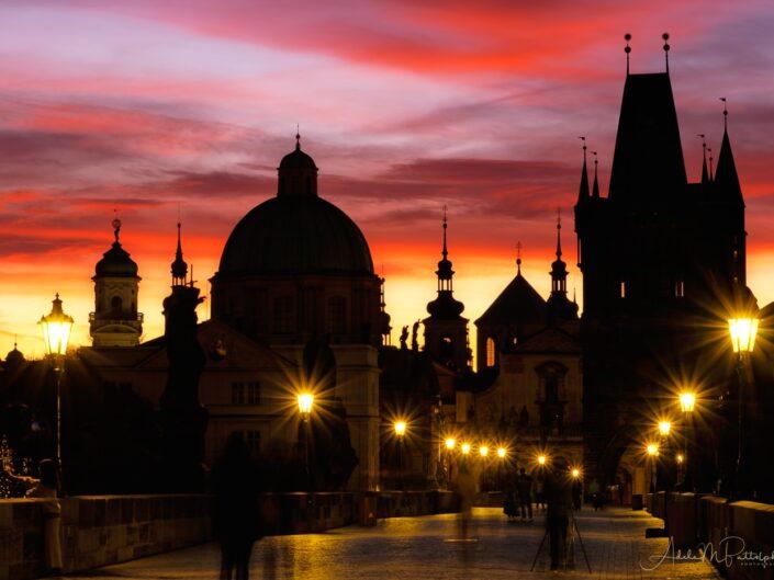 Sunrise Charles Bridge Prague Czech Republic