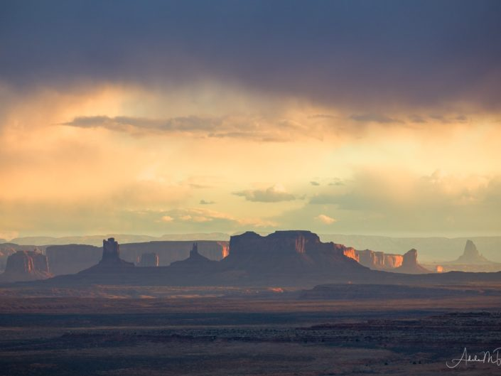 Monument Valley photographed from Muley Point at Sunset