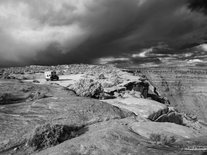 Storm Clouds above a camper parked at Muley Point, Utah, shot in infrared